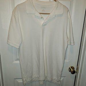 L.L. Bean Mens White Polo Shirt Sz M EUC